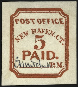 Sale Number 1077, Lot Number 28, Postmasters ProvisionalsNew Haven Conn., 5c Vermilion, Peets Reprint (8XU1R), New Haven Conn., 5c Vermilion, Peets Reprint (8XU1R)