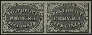 Sale Number 1077, Lot Number 31, Postmasters ProvisionalsProvidence, Rhode Island, 5c & 10c Gray Black, Se-Tenant (10X2a), Providence, Rhode Island, 5c & 10c Gray Black, Se-Tenant (10X2a)