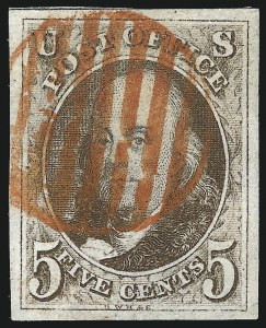 "Sale Number 1077, Lot Number 32, 1847 Issue and 1875 Reproduction (Scott 1-4)5c Brown, Dot in ""S"" (1 var), 5c Brown, Dot in ""S"" (1 var)"