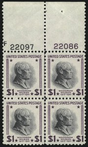 Sale Number 1077, Lot Number 340, Later Issues (Scott 599-3829)$1.00 Presidential, USIR Wmk. (832b), $1.00 Presidential, USIR Wmk. (832b)