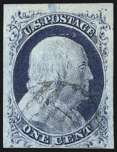Sale Number 1077, Lot Number 42, 1851-56 Issue (Scott 5-17)1c Blue, Ty. II (7), 1c Blue, Ty. II (7)