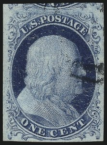 Sale Number 1077, Lot Number 43, 1851-56 Issue (Scott 5-17)1c Blue, Ty. II (7), 1c Blue, Ty. II (7)