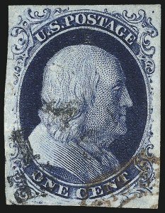 Sale Number 1077, Lot Number 45, 1851-56 Issue (Scott 5-17)1c Blue, Ty. II (7), 1c Blue, Ty. II (7)