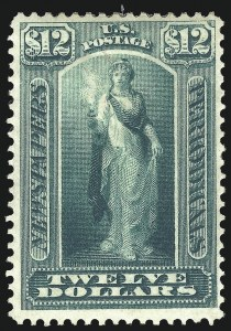 Sale Number 1077, Lot Number 455A, Newspapers and Periodicals (PR)$12.00 Blue Green, 1875 Issue (PR28), $12.00 Blue Green, 1875 Issue (PR28)