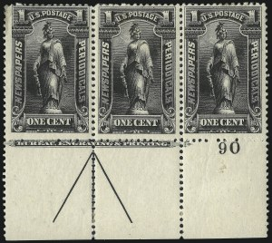 Sale Number 1077, Lot Number 456, Newspapers and Periodicals (PR)1c Black, 1895 Issue (PR102), 1c Black, 1895 Issue (PR102)