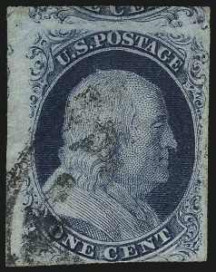 Sale Number 1077, Lot Number 46, 1851-56 Issue (Scott 5-17)1c Blue, Ty. III, Position 99R2 (8), 1c Blue, Ty. III, Position 99R2 (8)