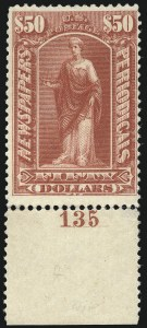 Sale Number 1077, Lot Number 462, Newspapers and Periodicals (PR)$50.00 Dull Rose, 1895 Issue (PR112), $50.00 Dull Rose, 1895 Issue (PR112)