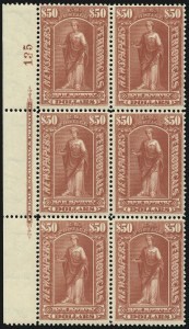 Sale Number 1077, Lot Number 470, Newspapers and Periodicals (PR)$50.00 Dull Rose, 1895 Watermarked Issue (PR124), $50.00 Dull Rose, 1895 Watermarked Issue (PR124)