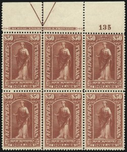 Sale Number 1077, Lot Number 471, Newspapers and Periodicals (PR)$50.00 Dull Rose, 1895 Watermarked Issue (PR124), $50.00 Dull Rose, 1895 Watermarked Issue (PR124)