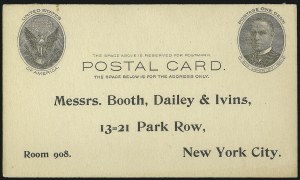 Sale Number 1077, Lot Number 497, Postal Stationery (U, UX)1c Black on Buff, Full-Face McKinley Postal Card (UX17; USPCC S21), 1c Black on Buff, Full-Face McKinley Postal Card (UX17; USPCC S21)