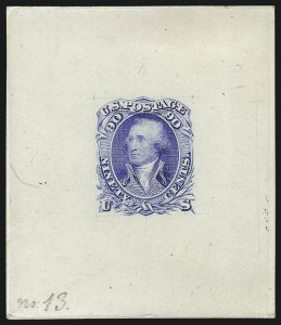 Sale Number 1077, Lot Number 5, Essays and Proofs90c Blue, Die Essay on India (72-E6), 90c Blue, Die Essay on India (72-E6)