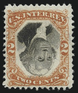 Sale Number 1077, Lot Number 504, Revenues (First Issue thru Stock Transfer)2c Orange & Black, Third Issue, Center Inverted (R135b), 2c Orange & Black, Third Issue, Center Inverted (R135b)