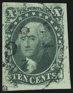 Sale Number 1077, Lot Number 53, 1851-56 Issue (Scott 5-17)10c Green, Ty. III (15), 10c Green, Ty. III (15)