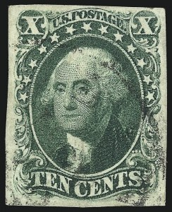 Sale Number 1077, Lot Number 55, 1851-56 Issue (Scott 5-17)10c Green, Ty. IV (16), 10c Green, Ty. IV (16)
