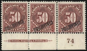 Sale Number 1077, Lot Number 594, U.S. Possessions (Philippines)PHILIPPINES, 1899, 50c Deep Claret, Postage Due (J5), PHILIPPINES, 1899, 50c Deep Claret, Postage Due (J5)