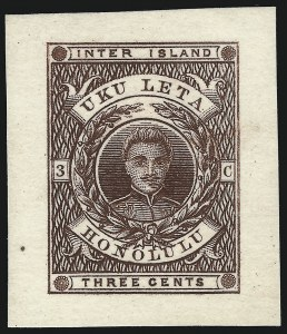 Sale Number 1077, Lot Number 749, Hawaii (Postage Issues)HAWAII, 1860, 3c Brown, Die Essays on Thin Pale Buff Card, HAWAII, 1860, 3c Brown, Die Essays on Thin Pale Buff Card