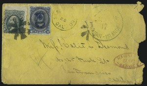 Sale Number 1077, Lot Number 750, Hawaii (Postage Issues)HAWAII, 1866, 5c Blue (32), HAWAII, 1866, 5c Blue (32)