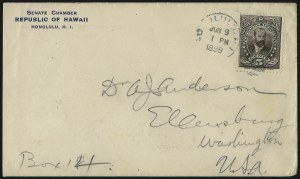Sale Number 1077, Lot Number 774, Hawaii (Officials)HAWAII, 1896, 5c Black Brown (O2), HAWAII, 1896, 5c Black Brown (O2)