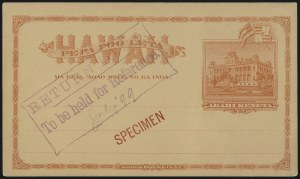 Sale Number 1077, Lot Number 786, Hawaii (Postal Card Essays and Proofs)HAWAII, 1894, 1c Red on Buff Postal Card, Specimen (UX8-S), HAWAII, 1894, 1c Red on Buff Postal Card, Specimen (UX8-S)
