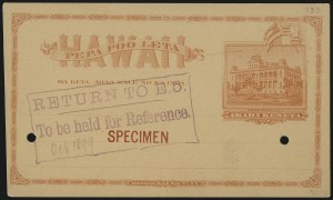Sale Number 1077, Lot Number 787, Hawaii (Postal Card Essays and Proofs)HAWAII, 1894, 1c Red on Buff Postal Card, Specimen (UX8-S), HAWAII, 1894, 1c Red on Buff Postal Card, Specimen (UX8-S)