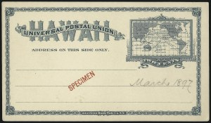 Sale Number 1077, Lot Number 789, Hawaii (Postal Card Essays and Proofs)HAWAII, 1894, 2c Green Postal Card, Specimen (UX9S), HAWAII, 1894, 2c Green Postal Card, Specimen (UX9S)