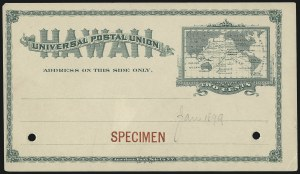 Sale Number 1077, Lot Number 790, Hawaii (Postal Card Essays and Proofs)HAWAII, 1894, 2c Green Postal Card, Specimen (UX9S), HAWAII, 1894, 2c Green Postal Card, Specimen (UX9S)