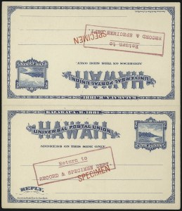 "Sale Number 1077, Lot Number 791, Hawaii (Postal Card Essays and Proofs)HAWAII, 1889, 2c + 2c Sapphire, Message and Reply Card, ""Specimen"" (UY4), HAWAII, 1889, 2c + 2c Sapphire, Message and Reply Card, ""Specimen"" (UY4)"