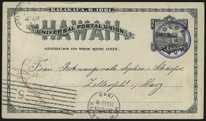 Sale Number 1077, Lot Number 793, Hawaii (Used Postal Cards)HAWAII, 1882, 2c Black Postal Card (UX2), HAWAII, 1882, 2c Black Postal Card (UX2)