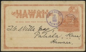 Sale Number 1077, Lot Number 796, Hawaii (Used Postal Cards)HAWAII, 1897, 1c Red on Buff Postal Card, Border Frame 132.5 x 74mm (UX8a), HAWAII, 1897, 1c Red on Buff Postal Card, Border Frame 132.5 x 74mm (UX8a)