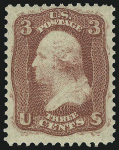 Sale Number 1077, Lot Number 80, 1861-66 Issue (Scott 56-78)3c Brown Rose, First Design (56), 3c Brown Rose, First Design (56)