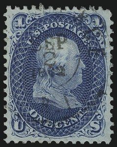 Sale Number 1078, Lot Number 148, 1861-68 Issue (Scott 56-70b)1c Dark Blue (63b), 1c Dark Blue (63b)