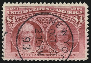 Sale Number 1078, Lot Number 374, 1893 Columbian Issue (Scott 230-245)$4.00 Columbian (244), $4.00 Columbian (244)