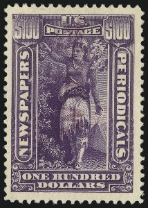 Sale Number 1078, Lot Number 674, Special Delivery thru Other Back-of-Book$100.00 Purple, 1895 Watermarked Issue (PR125), $100.00 Purple, 1895 Watermarked Issue (PR125)