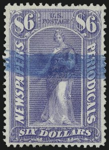 Sale Number 1079, Lot Number 2097, 1875 Issue Used$6.00 Ultramarine, 1875 Issue (PR26), $6.00 Ultramarine, 1875 Issue (PR26)