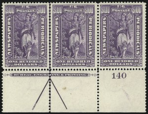 Sale Number 1079, Lot Number 2216, 1895-97 Watermarked Issue Unused (Scott PR114-PR125)1c-$100.00 1895 Watermarked Issue (PR114-PR125), 1c-$100.00 1895 Watermarked Issue (PR114-PR125)