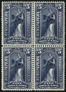 Sale Number 1079, Lot Number 2217, 1895-97 Watermarked Issue Unused (Scott PR114-PR125)$5.00 Dark Blue, 1895 Watermarked Issue (PR121), $5.00 Dark Blue, 1895 Watermarked Issue (PR121)