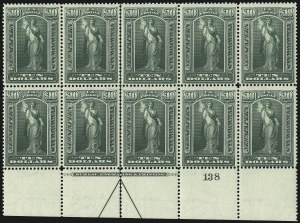 Sale Number 1079, Lot Number 2218, 1895-97 Watermarked Issue Unused (Scott PR114-PR125)$10.00 Green, 1895 Watermarked Issue (PR122), $10.00 Green, 1895 Watermarked Issue (PR122)