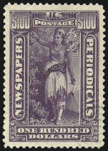 Sale Number 1079, Lot Number 2222, 1895-97 Watermarked Issue Unused (Scott PR114-PR125)$100.00 Purple, 1895 Watermarked Issue (PR125), $100.00 Purple, 1895 Watermarked Issue (PR125)