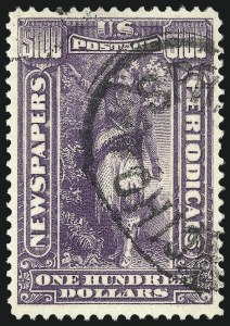 Sale Number 1079, Lot Number 2228, 1895-97 Watermarked Issue Used$100.00 Purple, 1895 Watermarked Issue (PR125), $100.00 Purple, 1895 Watermarked Issue (PR125)