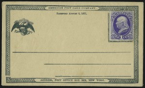 Sale Number 1080, Lot Number 2310, Forerunner Essays (American Postal Card Co., Lees & Skeen)(Unstated Value) Dark Green on Buff, American Post Card Co., New York, Forerunner Postal Card Essay (UX1E-Ea), (Unstated Value) Dark Green on Buff, American Post Card Co., New York, Forerunner Postal Card Essay (UX1E-Ea)