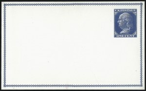 Sale Number 1080, Lot Number 2327, Forerunner Essays (Unidentified Author)1c Dark Blue on White, Forerunner Postal Card Essay (UX1E-H var), 1c Dark Blue on White, Forerunner Postal Card Essay (UX1E-H var)