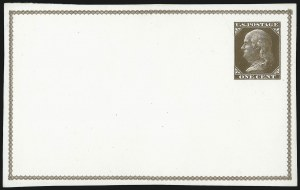 Sale Number 1080, Lot Number 2328, Forerunner Essays (Unidentified Author)1c Brown on White, Forerunner Postal Card Essay (UX1E-H var), 1c Brown on White, Forerunner Postal Card Essay (UX1E-H var)