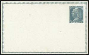 Sale Number 1080, Lot Number 2329, Forerunner Essays (Unidentified Author)1c Blue Green on Cream White, Forerunner Postal Card Essay (UX1E-H var), 1c Blue Green on Cream White, Forerunner Postal Card Essay (UX1E-H var)