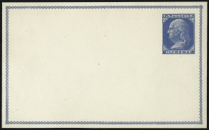 Sale Number 1080, Lot Number 2330, Forerunner Essays (Unidentified Author)1c Dark Blue Green on Cream White, Forerunner Postal Card Essay (UX1E-H var), 1c Dark Blue Green on Cream White, Forerunner Postal Card Essay (UX1E-H var)