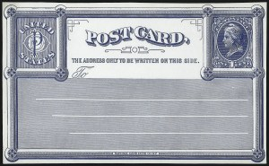 Sale Number 1080, Lot Number 2347, Forerunner Essays (National Bank Note Co.)1c Blue on White Wove, National Bank Note Co., New York, Forerunner Postal Card Essay (UX1E-Xb), 1c Blue on White Wove, National Bank Note Co., New York, Forerunner Postal Card Essay (UX1E-Xb)