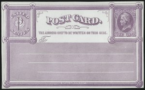 Sale Number 1080, Lot Number 2351, Forerunner Essays (National Bank Note Co.)1c Violet on White Wove, National Bank Note Co., New York, Forerunner Postal Card Essay (UX1E-Xb), 1c Violet on White Wove, National Bank Note Co., New York, Forerunner Postal Card Essay (UX1E-Xb)