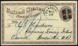 "Sale Number 1080, Lot Number 2375, UX1 First Day and Early Uses1c Brown on Buff, 1873 Postal Card, Large ""USPOD"" in Monogram Watermark (UX1, USPCC S1), 1c Brown on Buff, 1873 Postal Card, Large ""USPOD"" in Monogram Watermark (UX1, USPCC S1)"