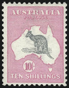 Sale Number 1081, Lot Number 3050, First Watermark Issue 10sh Gray and Pink (BW 47; Scott 13; SG 14), 10sh Gray and Pink (BW 47; Scott 13; SG 14)