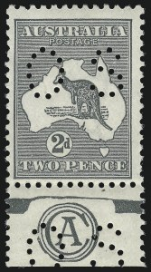 "Sale Number 1081, Lot Number 3064, Third Watermark Issue 2p Gray, Die I, Small ""OS"" (BW 7ba/za), 2p Gray, Die I, Small ""OS"" (BW 7ba/za)"