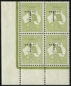 "Sale Number 1081, Lot Number 3076, Third Watermark Issue 3p Olive, Die II, ""T"" Perfin for use in Tasmania (BW 13E var), 3p Olive, Die II, ""T"" Perfin for use in Tasmania (BW 13E var)"
